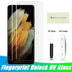 УФ свет нано жидкий клей Закаленное стекло телефон защитник для Samsung S21 Ultra S20 Plus Примечание 20 10 S10 S9 Plus Huawei P40 Pro Mate 40