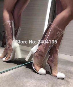 Botines Mujer 2020 взлетно-посадочная полоса коренастые высокие каблуки сексуальные летние сапоги лоскутное черное белое прозрачное ПВХ прозрачные дождевые сапоги женщины