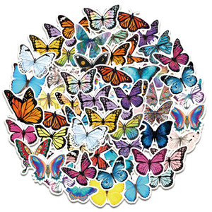 50pcs Lot Hotsale Colorful Lovely Butterfly Stickers For Kids Cute Toys Laptop Guitar Notebook Refrigerator Skateboard Car decal
