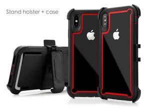 3 в 1 гибридный ударопрочный телефонный чехол сверхмощный доспехи чехлы задняя крышка кронштейн с зажимом для iPhone 11 12 XR XS MAX Samsung S10 S20 MQ30