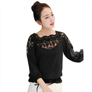 EFINNY Women Fashion Chiffon Lace Blouse Flower Embroidered Loose Blouses Long Sleeve Sexy Tops Shirts 2020