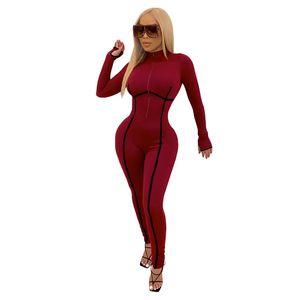 Seksi Düzensiz Çizgili Printde Womens Romper Moda Fermuar Tasarımcısı Ile Yüksek Boyun Sıska Tulumlar Bayan Giyim