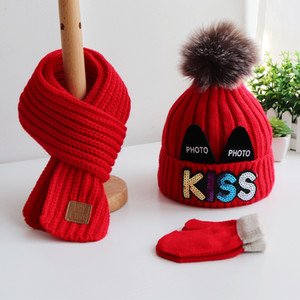 3-piece Suit Children's Hats, Scarves, Autumn and Winter Suits for Boys and Girls Plus Cashmere Knit Hats, Cute Princess Babies,