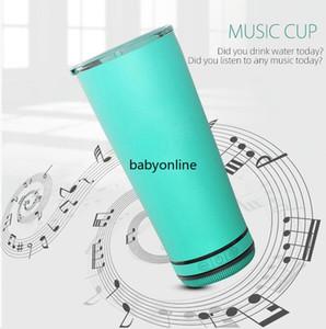 2021 New 18oz Creative Bluetooth Music Tumbler Altavoz a prueba de agua Termos de doble pared de acero inoxidable Copa de café portátil Taza de café Año Nuevo Regalos