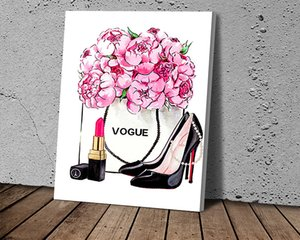 New HD Lipstick and High Heels and Bag Art Posters Canvas Painting Posters and Prints Wall Art Picture for Living Room Home Décor