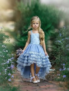 New Cheap Sky Blue Flower Girls Dresses For Wedding Birthday Party Spaghetti Straps Lace Beach Boho High Low Tiered First Communion Dress