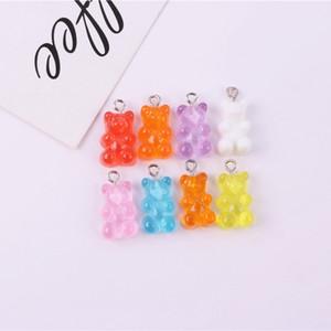 100 pçs / lote cute gummy urso pingente encantos para colar bracelete brincos jóias de jóias DIY descobertas resina ursos presente 2.1 * 1.1cm