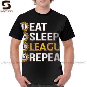 Gamer-T-Shirt League of Legends Eat Sleep Liga Repeat lustige T-Shirt Lässige Spaß-T-Shirt Mann-Grafik-T-Shirt 1118