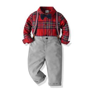 Weihnachten Jungen Outfits Frühlingskinder kariertes Hemd + Querbinder + Straps Fall Plover Plaidhosen 3pcs Sätze Kinder Leistung Kleidung A5100