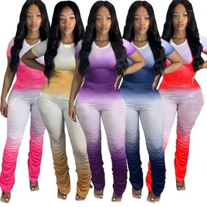 Vestuário Casual Macacões Slim Gradient Womens Designer Jumpsuits Moda Crew Pescoço Manga Curta Pants Womens