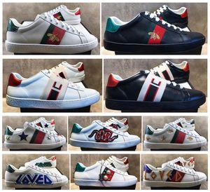 Alta Qualidade Mens Casuais Sapatos Branco Ace Verde Verde Stripe Itália Bee Tiger Snake Mulheres Sneaker Trainsures Chaussures Derrame Home com Caixa