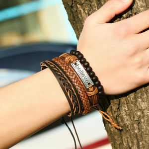 multilayer adjustable Braid leather bracelets Tag Believe bracelet wristband banle cuff women mens bracelet will and sandy fashion jewelry