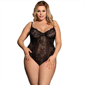 Body Mujer Sexy Teddy Floral Lace Striped Leotard Women Plus Size Rompers Womens Jumpsuit See Through Bodysuit Woman RW80536
