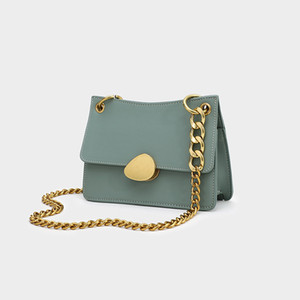 Summer 2021 ins candy color bold gold chain small square charm luxury leather shoulder messenger female bag Q1119