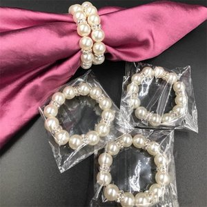 100 adet / grup Beyaz İnciler Napkin Yüzükler için Toka Düğün Resepsiyon Parti Masa Süslemeleri Malzemeleri