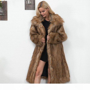 Winter Womens Plus Size Faux Fur Coat Long Slim Thicken Warm Hairy Jacket Trendy Warm Outerwear Fur Coat Trenchcoat 6Q0366