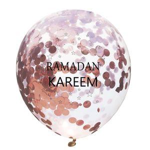 12 polegadas Balões Ramadan Kareem Sequin Transparente Lotex Castelo Moon Estrela Imprimir Eid Mubarak Confetti Balloons Fornecimento de Partido 0 75FN E19