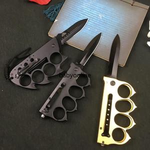 Cuchillo plegable plegable de la función de latón de latón nudillos al aire libre Camping de autodefensa de autodefensa Cuchillo de acero inoxidable FY4378
