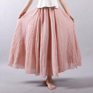 Vintage Cotton Linen Women Skirt High Waisted Elegant Sexy Saia White Black Pleated Skirts Female Maxi Long Skirts Harajuku