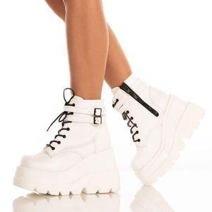 Ankle Boots Women Wedges High Platform Boots Heels Thick Bottom Leather Lace Up Autumn Winter Women Short Shoes Botas VT1399