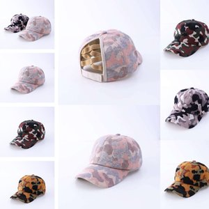 Camouflage Pattern Ponytail Baseball Cap Knitting Criss Cross Washed Ball Cap Fashion Camouflage High Messy Hat Party Hats 30pcs T1I3045