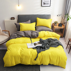 100 Cotton Simple Bedding Set Solid Color Duvet Cover Sets Bed Sheets Pillowcases 3 4 PCS Twin Queen King Size 201021