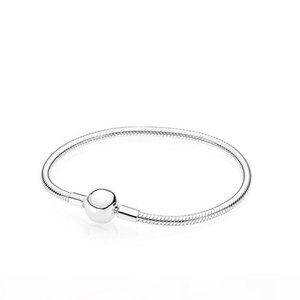 K 925 Sterling Silver Smooth 3mm Snake Chain European Beads Fits Pandora Bracelet Bangle Chain Jewelry With Logo Gift For Men Women