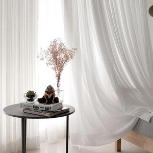 White Tulle Curtains for Living Room Modern Chiffon Solid Sheer Voile Kitchen Curtain home Decoration