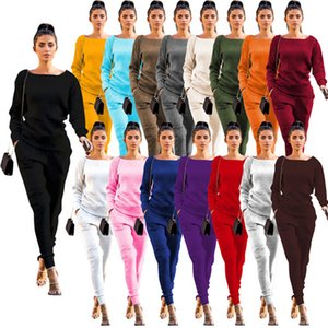 hot womens two piece set tracksuit shirt pants outfits long sleeve sportswear shirt trousers sweatsuit pullover tights sportswear H9134