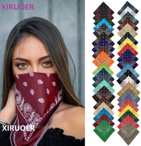 Vintage Bohemia Print Bandana Cotton Hair Bands for Girls Women Headband men Scarf Face Mask Cross Turban Bandanas Headwear 55cmX55cm 9-113