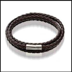 Mens Leather Bangle Bracelets Black Brown Mesh Magnetic Stainless Steel Clasp Double Wrap ps1457