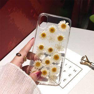 Qianliyao secou flor real handmade estojo apertado caso para telefone 12 11 pro x xs max xr 6 6 s 7 8 plus se s mol soft