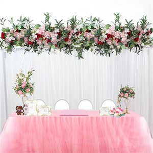 1M wedding decor luxury Road cited artificial flore rose peony hydrangea mix DIY arched door Flower Row T station Christmas wall
