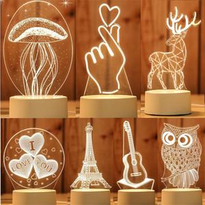 Lámpara LED 3D creativa rgb llevó luces nocturnas novedad ilusión noche lámpara de mesa 3d ilusión lámpara para el hogar decorativo al por mayor