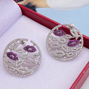 Color rose red lip earrings round mouth Yao Chen with full diamond multi-layer lip earrings contrast color mix and match