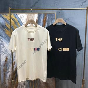2021 Sommer New Herren Designer Luxus T Shirts Frauen Klassischer Goldbrief Patchwork T-shirt Baumwolle T-Shirt Casual T-Shirt Tops T-Shirt