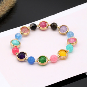 6Pcs Gold Cover Gemstone Bracelets Natural Stone Crystal Quartz Turquoise Beads Bracelet Bangles Women Jewelry Gifts