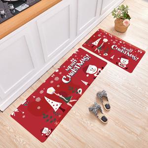 2Pcs Christmas Floor Mat Santa Claus Kitchen Mat Anti-slip Carpet Doormat Hallway Kitchen Long Floor Mats Rug Outdoor Door Mat