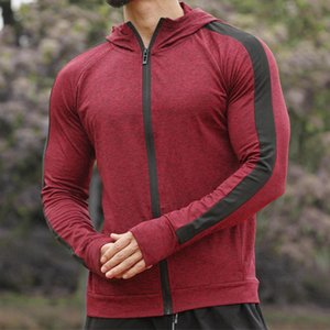 Men Long Sleeve Running Jacket Men Gym Hoodie Tops Hooded Sports Jacket Hiking Sweatshirt Mens Training Jackets Gyms Clothing