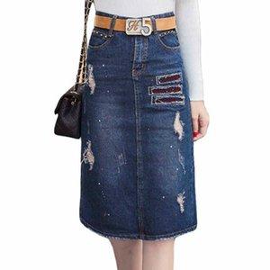 2019 new brand Vintage Denim Slim Office Sexy A-line Skirt Midi Women Ripped Prints jeans faldas Z1122