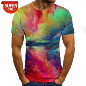 Summer new 3D printing men's T-shirt casual short-sleeved O-neck men's T-shirt fashion splash ink printing 3D top #QO6H