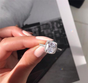 Promise Ring 925 Sterling Silver Cushion cut 3ct Diamond Engagement Wedding Rings For Womens Fashion Jewelry