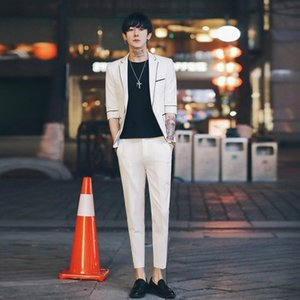 Mens Suits Slim Fit 2 Pieces Set Costume Homme White Black Suit Groom Wedding Tuxedos Men Short Sleeve Formal Prom Suit