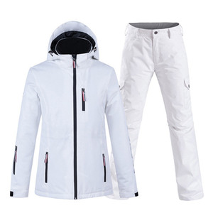 New Pure Color White Womens Suit Wear Snowboard Clothing Set 10k Waterproof Windproof Winter Costume Ski Jacket + Snow Pant