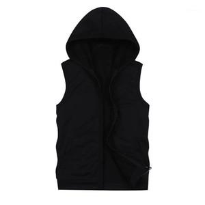 Мужская без рукавов сверху черный толстовки с карманами Мода повседневная толстовка с капюшоном Мужчины Хип-хоп Hoodie Men Sportswear1