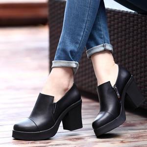 Weibate Lederschuhe 2020 Neue dicke Fersenschuhe Gummi Rutschfeste Weibliche Schuhe Seite Reißverschluss Wasserdichte Plattform Frauen