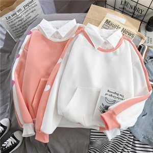New womens fake two loose double collar shirt color matching plus velvet casual printing love thickened sweatshirt women