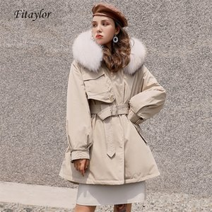 Fitaylor Winter White Duck Down Jacket Women Large Fur Collar Hooded Parkas Midi Long Thickness Warm Coat With Adjustable Waist LJ201215