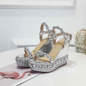 2021 Marke Frauen Pumps Hochzeitsschuhe Frau High Heels Sandal Nackt Mode Knöchelgleise Nieten Schuhe Sexy High Heels Brautschuhe mit Kiste