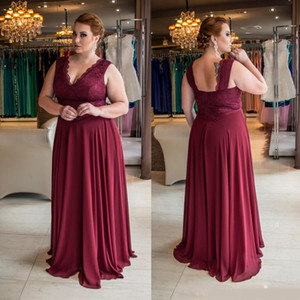 Stunning Burgundy Plus Size Lace Evening Dresses V-Neck A Line Cheap Prom Gowns Floor Length Chiffon Formal Dress